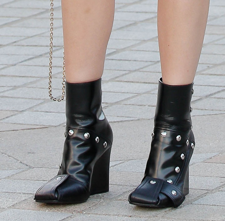 Ana de Armas adds modern edge to her retro outfit with Louis Vuitton's Patti wedge ankle boots