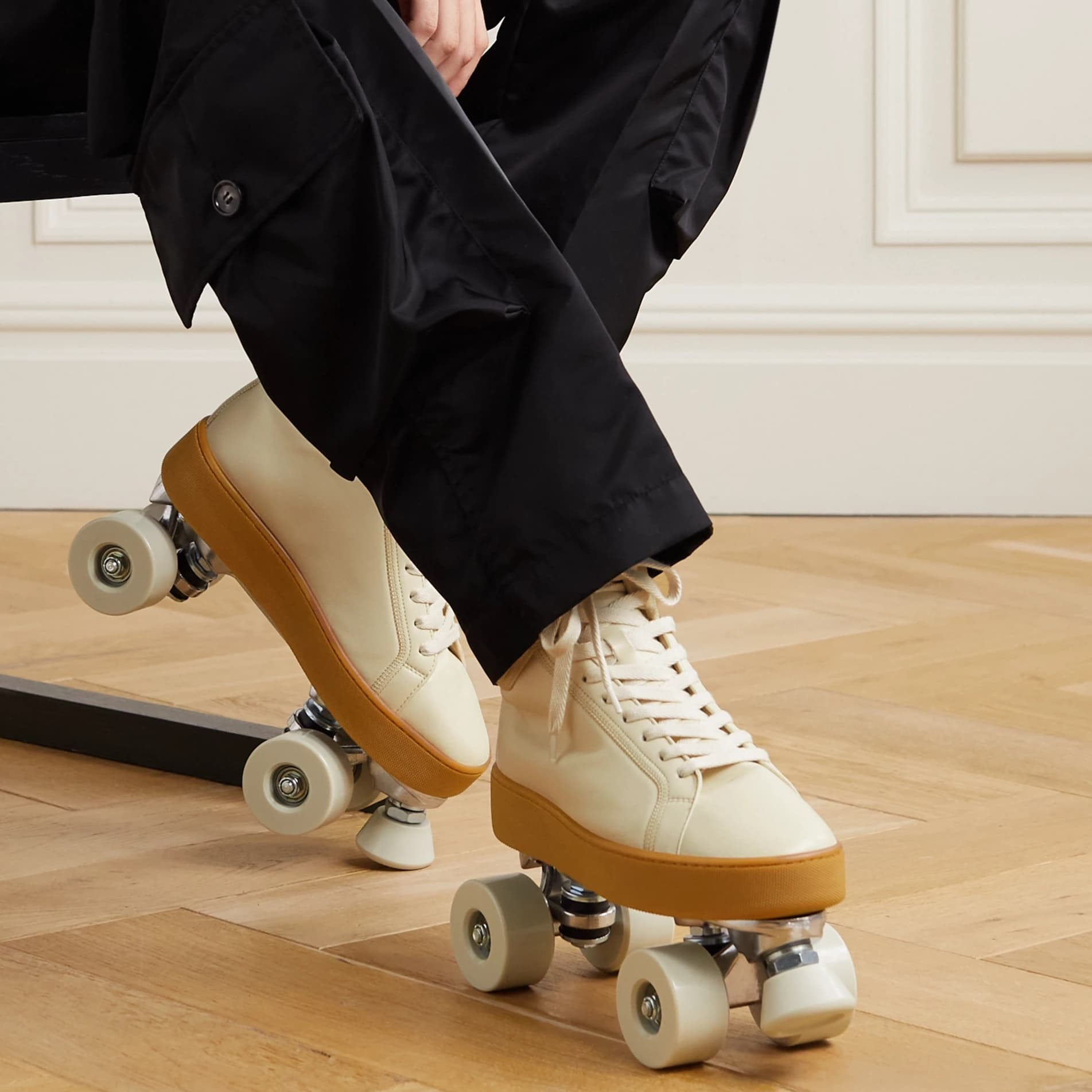 Bottega Veneta's beige The Quilt lace-up leather roller skates have been crafted by hand at the house's atelier