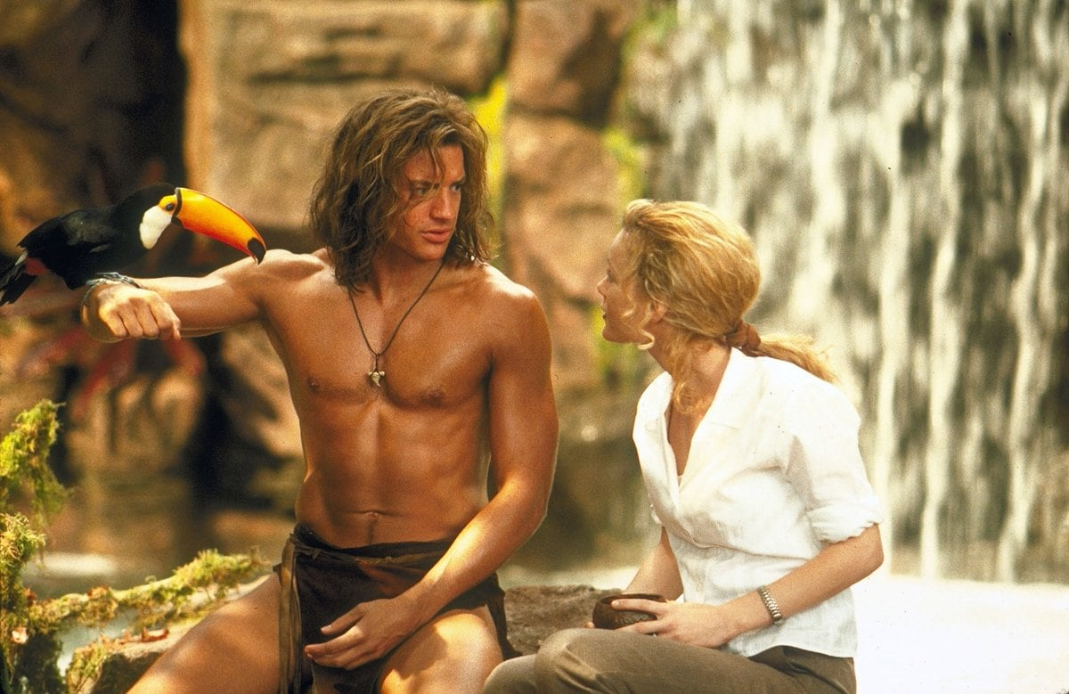 Brendan Fraser as George and Leslie Mann as Ursula Stanhope in the 1997 American comedy film George of the Jungle