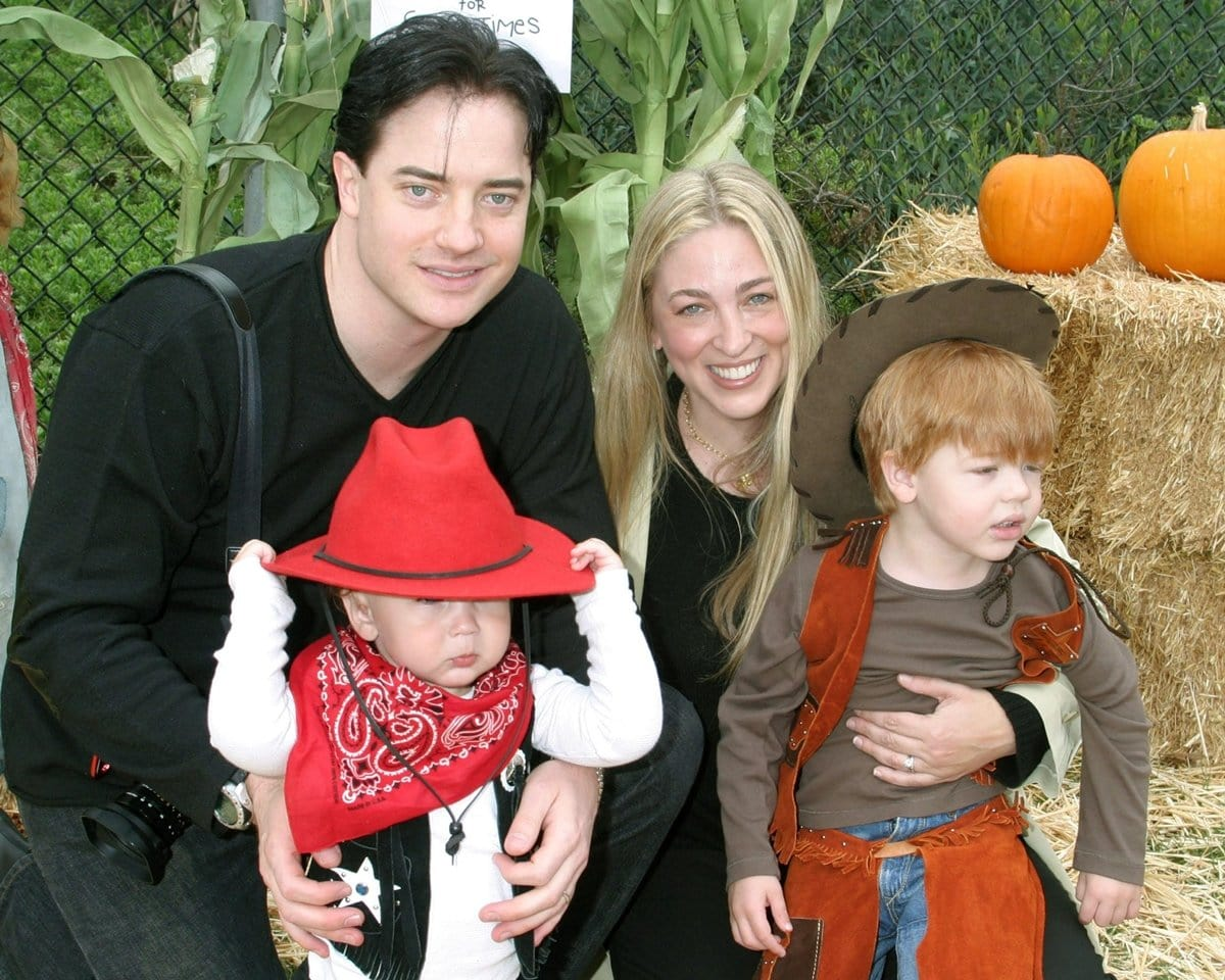 Brendan Fraser with his wife Afton Smith and their sons Griffin Arthur Fraser and Holden Fletcher Fraser