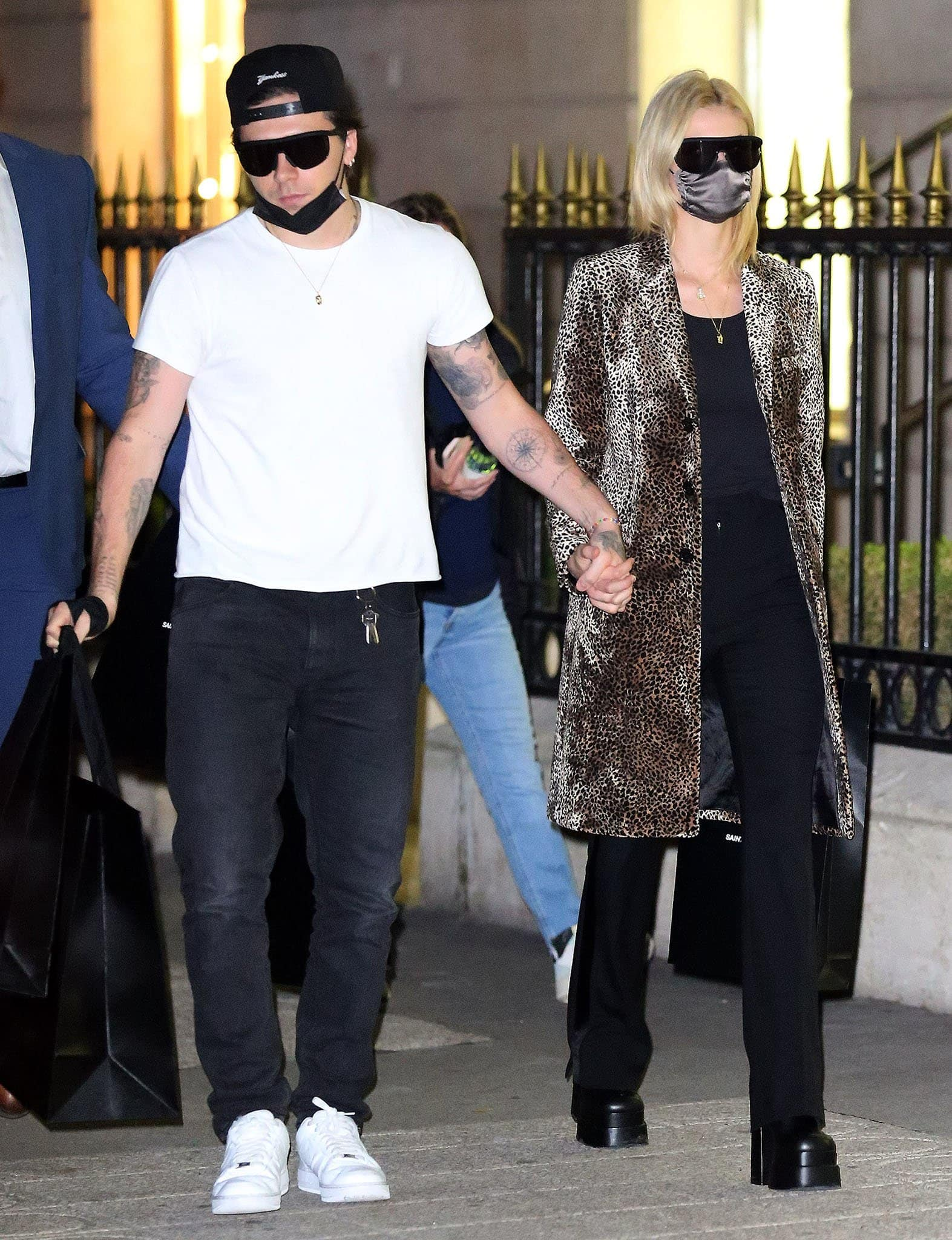 Brooklyn Beckham and Nicola Peltz at a YSL store on Avenue Montaigne in Paris on October 4, 2021