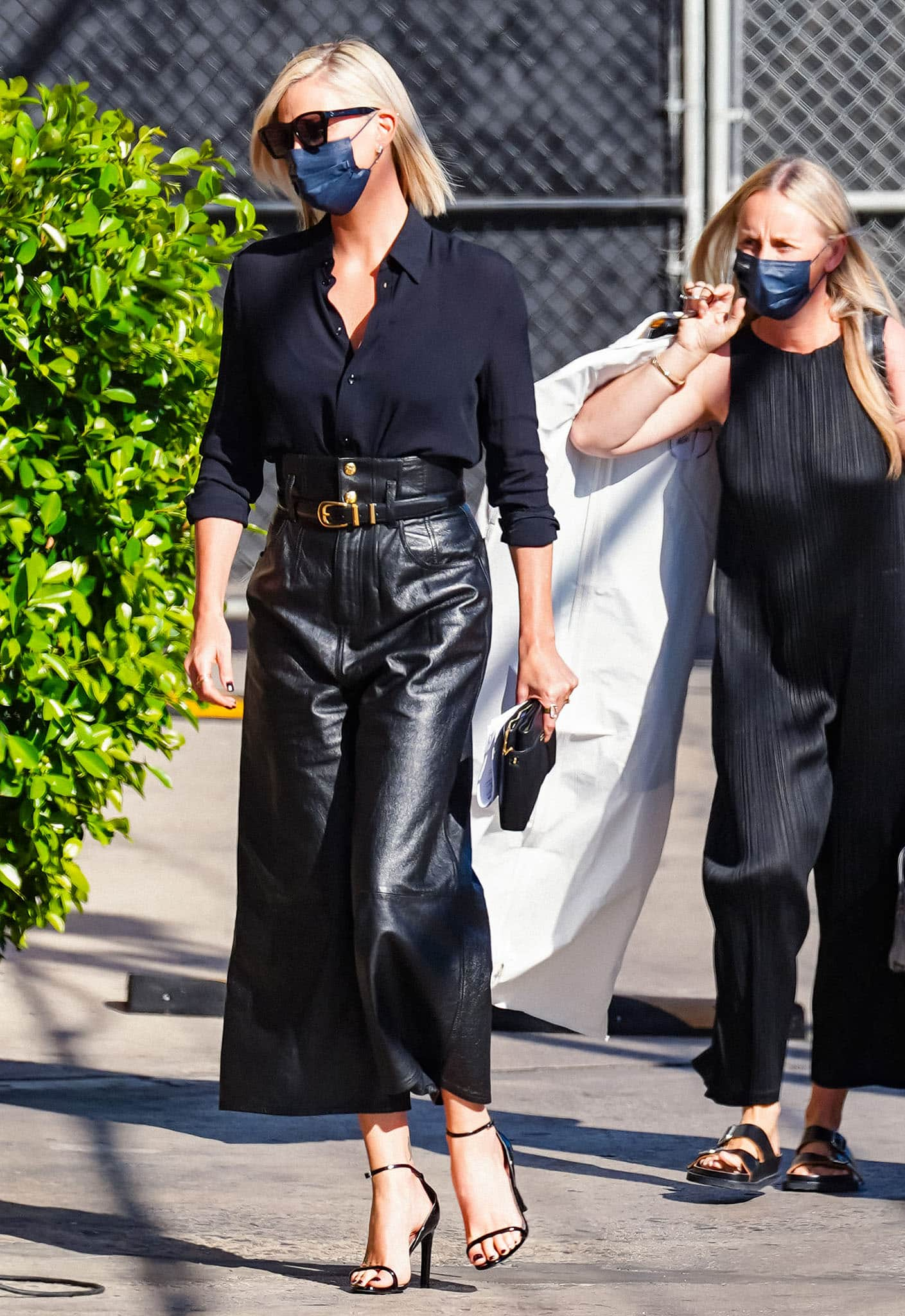 Charlize Theron arriving at the Jimmy Kimmel Live studio to promote The Addams Family 2 movie on September 30, 2021