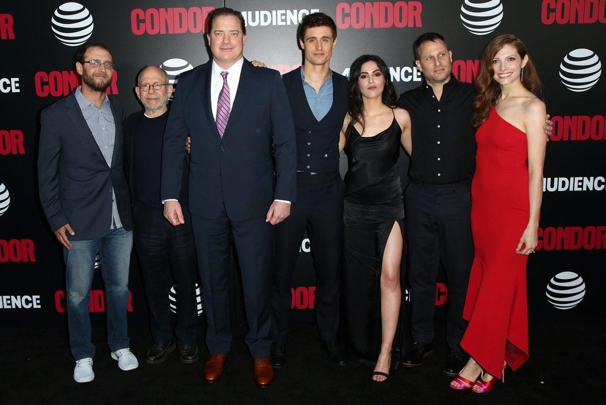 Todd Katzberg, Bob Balaban, Brendan Fraser, Max Irons, Leem Lubany, Jason Smilovic, and Katherine Cunningham attend the premiere of AT&T Audience Network's 'Condor'