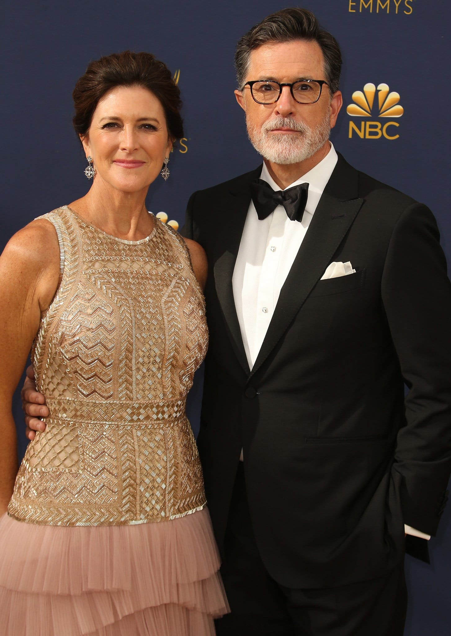 Evelyn McGee and Stephen Colbert at the 70th Primetime Emmy Awards in Los Angeles on September 17, 2018