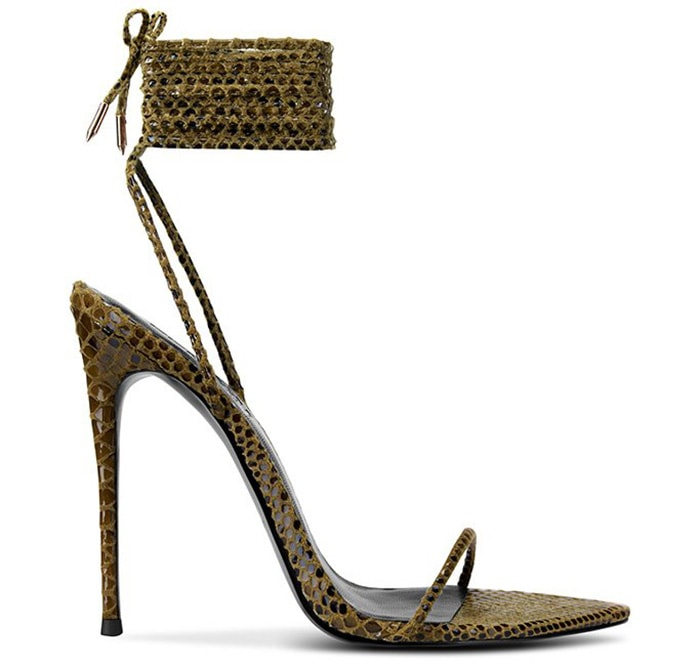 Femme LA's Luce Minimale features a sultry silhouette with thin python-effect straps that crisscross at the ankle
