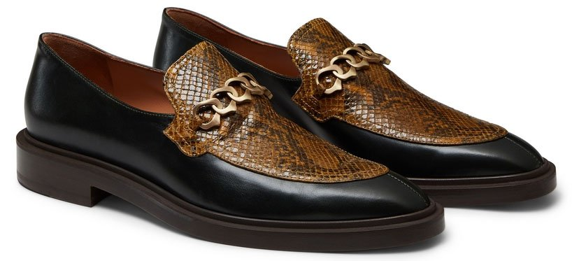 These Fratelli Rossetti loafers have chain detail on the python-printed vamps