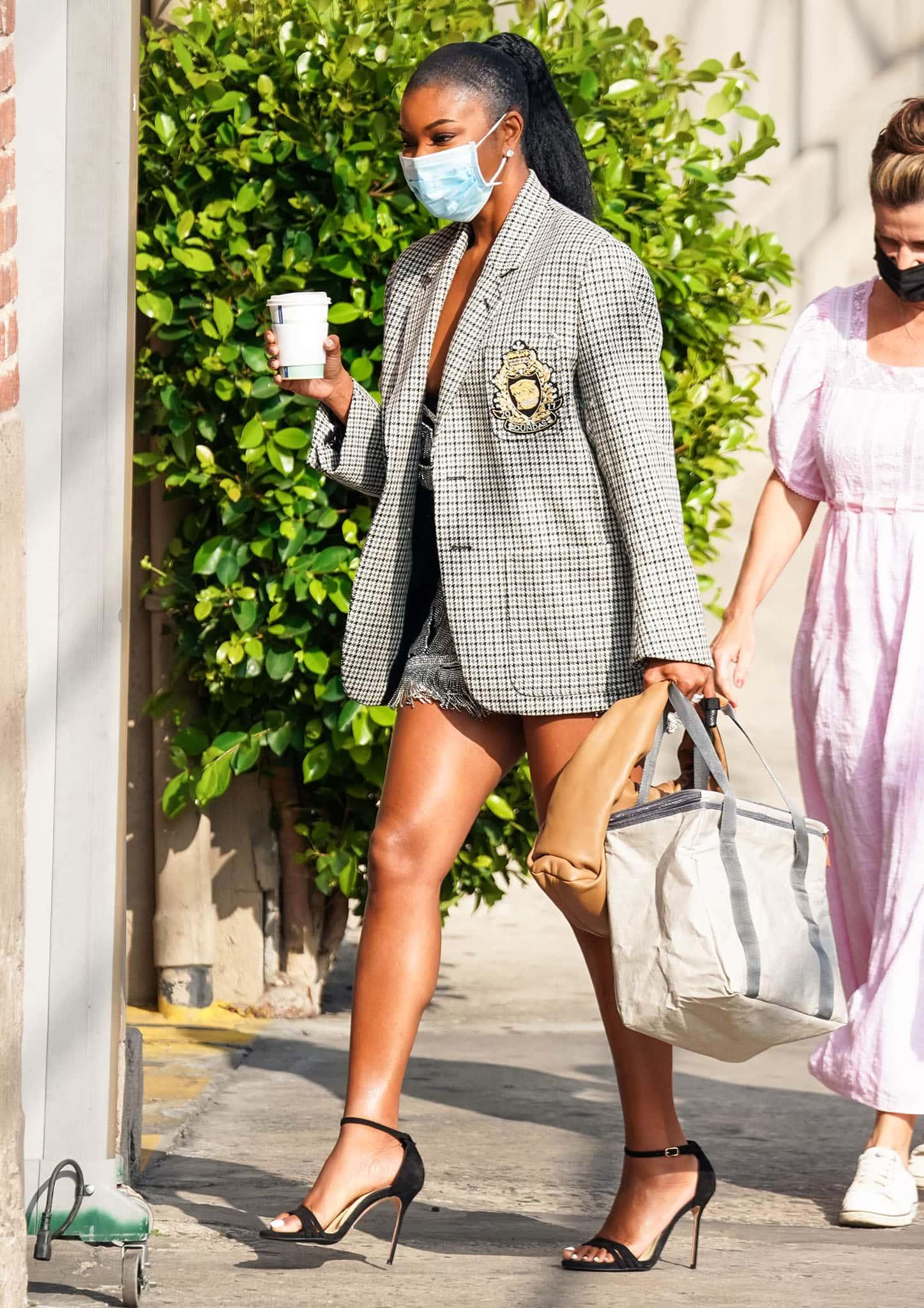 Gabrielle Union arriving at Jimmy Kimmel Live studios on September 28, 2021