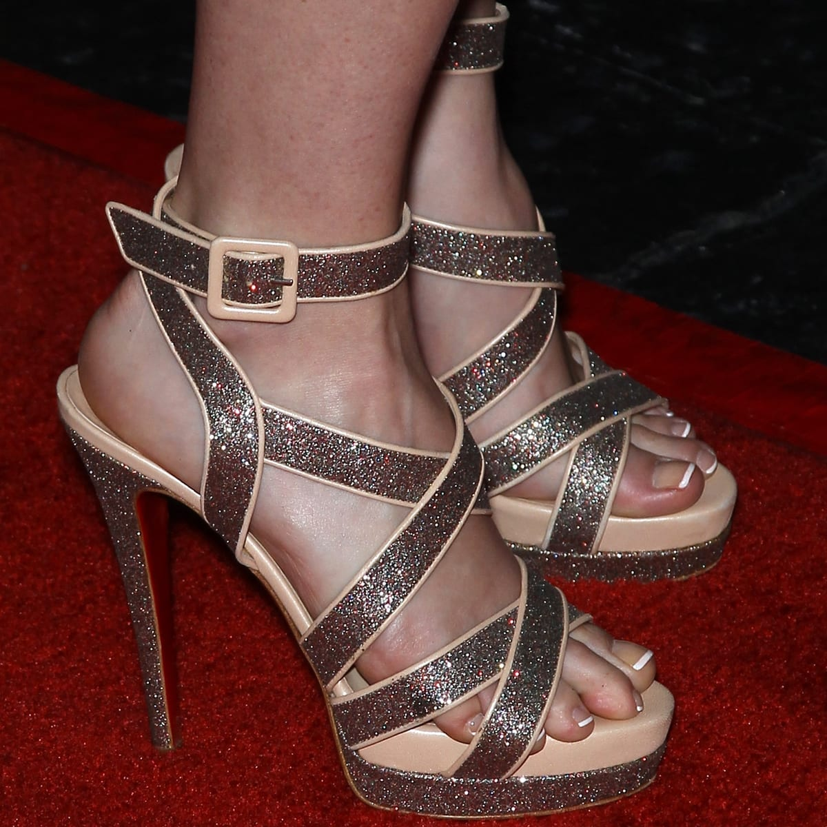 Heidi Montag shows off her size 7 (US) feet in glittering Christian Louboutin Straratata sandals