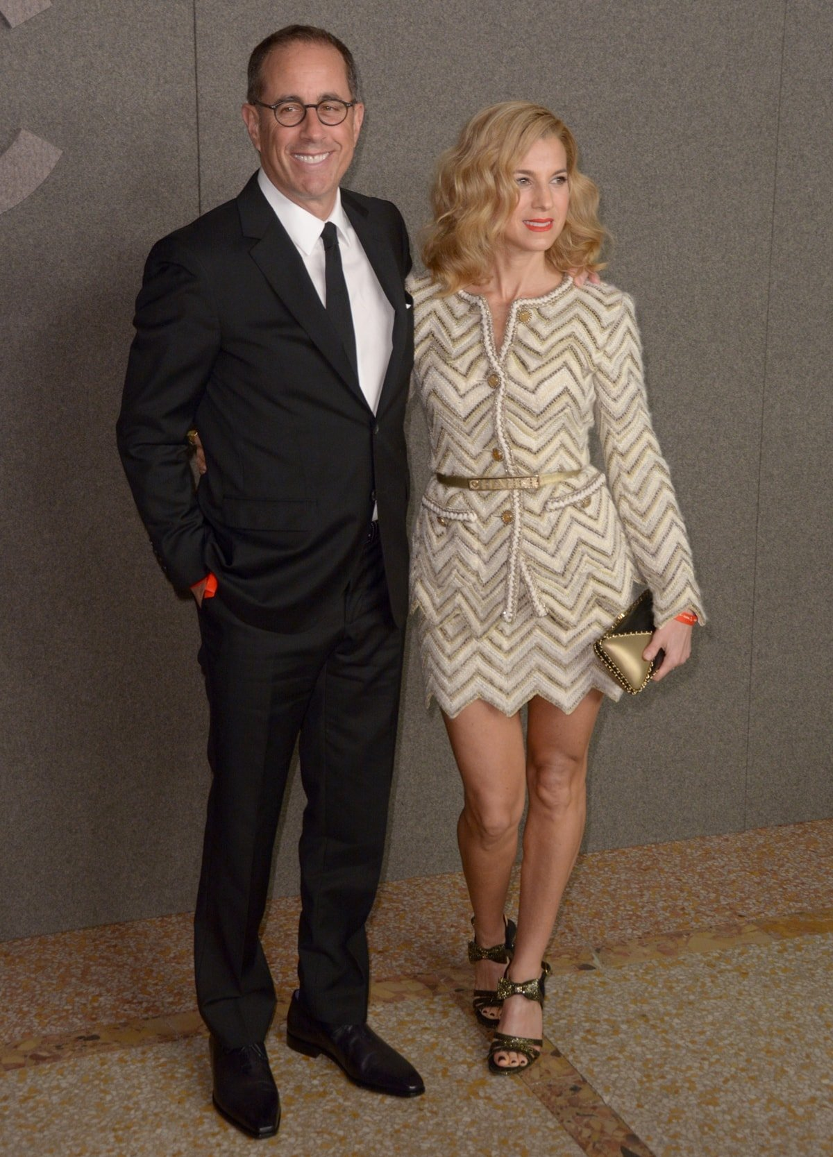 Philanthropist Jessica Seinfeld, the founder and president of the Good+ Foundation, with her husband Jerry Seinfeld at the Chanel Metiers D'Art 2018/19 Show at The Metropolitan Museum of Art