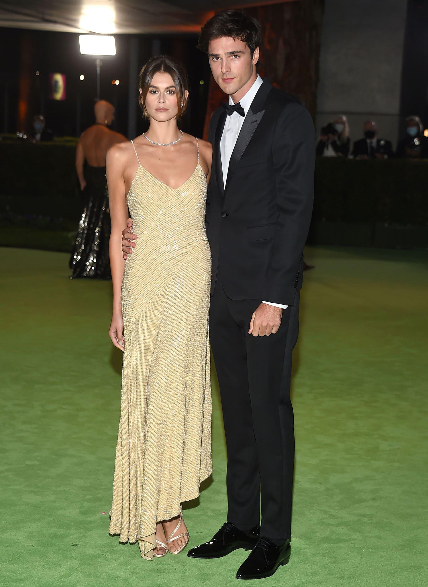 Kaia Gerber and her super tall boyfriend Jacob Elordi make their red carpet debut in Celine ensembles