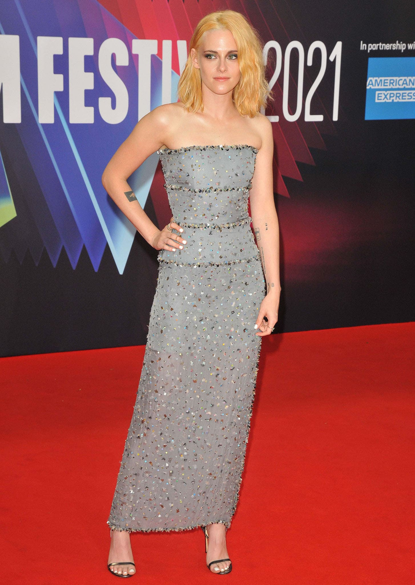 "Kristen Stewart attends the ""Spencer"" headline gala at the 65th BFI London Film Festival on October 7, 2021"
