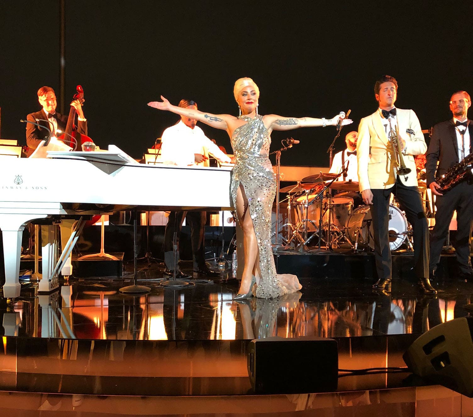 Lady Gaga performs in front of a star-studded audience at the Academy Museum of Motion Pictures opening gala