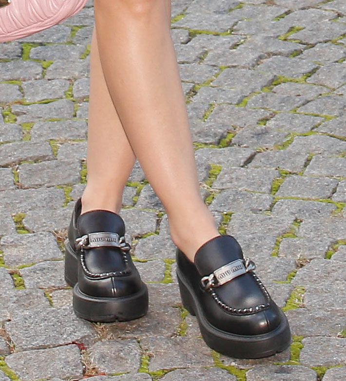 Lucy Hale completes her preppy Parisian look with Miu Miu chunky loafers