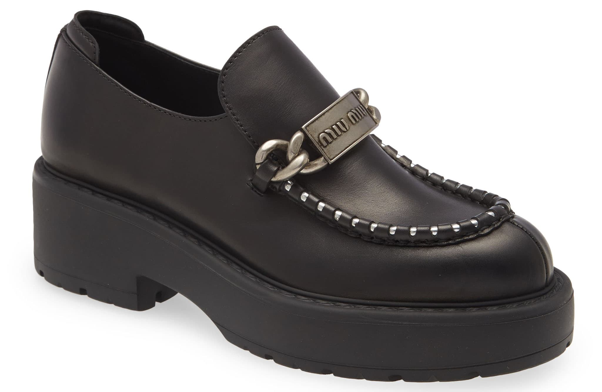Logo-embossed bit hardware brands this contemporary Miu Miu loafer boosted by a chunky platform