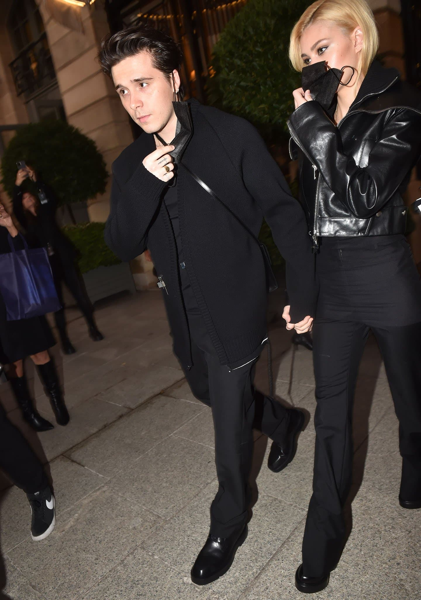 Brooklyn Beckham and Nicola Peltz leaving Ritz hotel for Givenchy's runway show during Paris Fashion Week on October 3, 2021