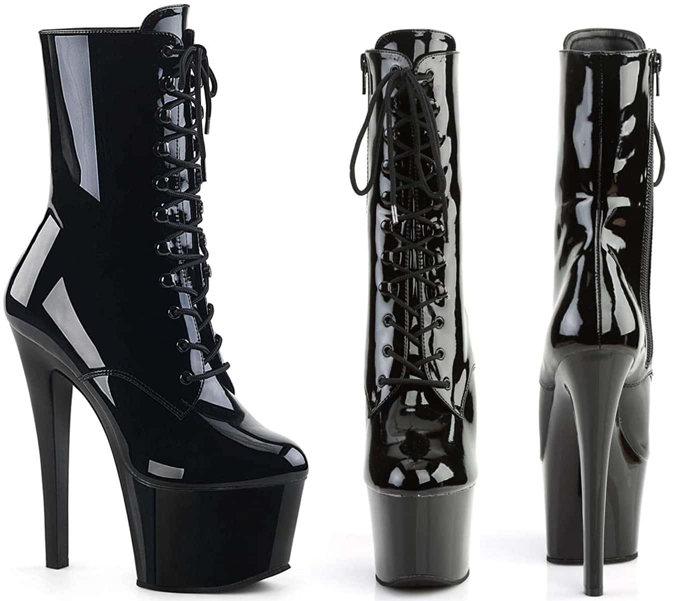The Pleaser Xtreme 1020 offers an extraordinary lift with its 8-inch spike heels and 4-inch platforms