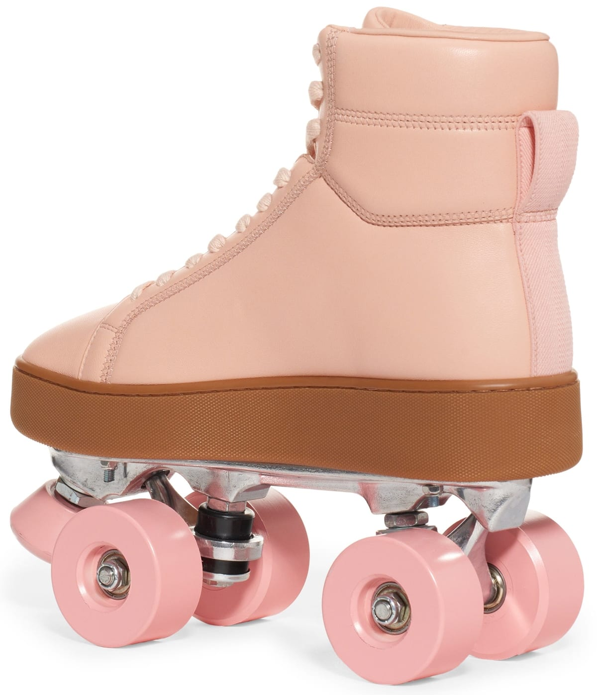 High top silhouette, pink leather sneaker skates with tonal four wheel base and stopper