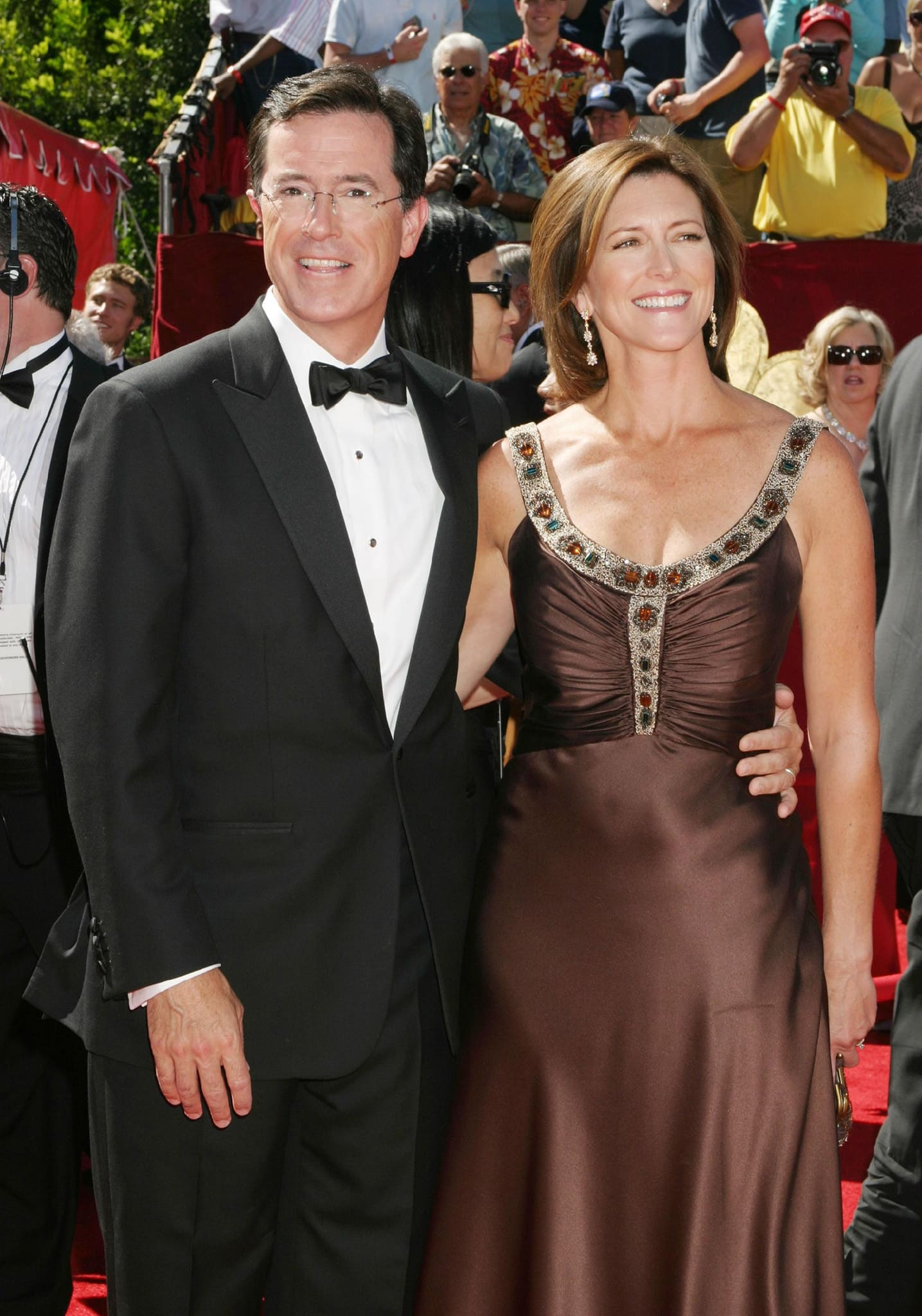 Stephen Colbert and Evelyn McGee met at the premiere of the Philip Glass and Allen Ginsberg chamber opera Hydrogen Jukebox