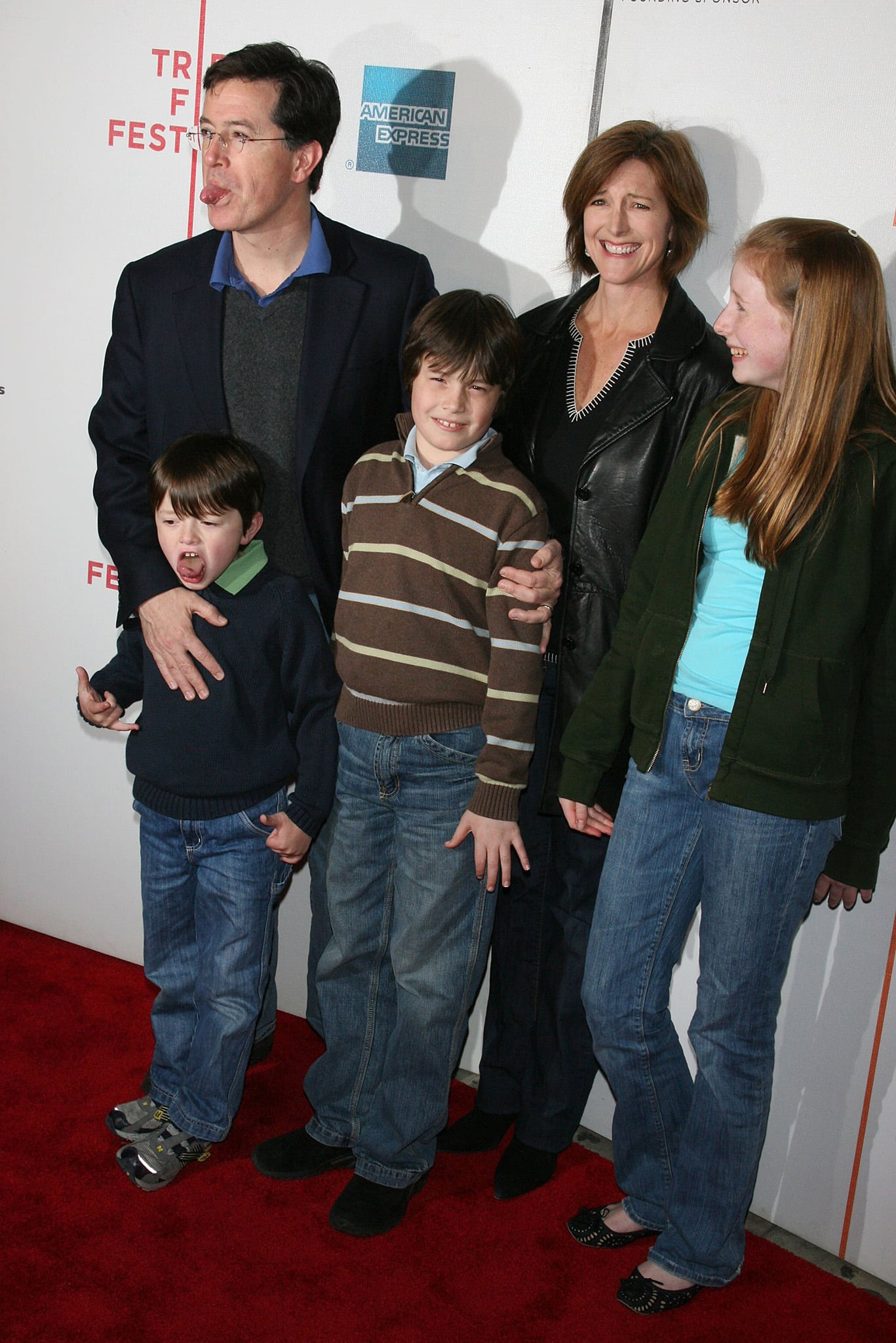 Stephen Colbert brings his family, including his wife Evelyn McGee and their three kids, at the Tribeca Film Festival 2008 premiere of Speed Racer on May 3, 2008