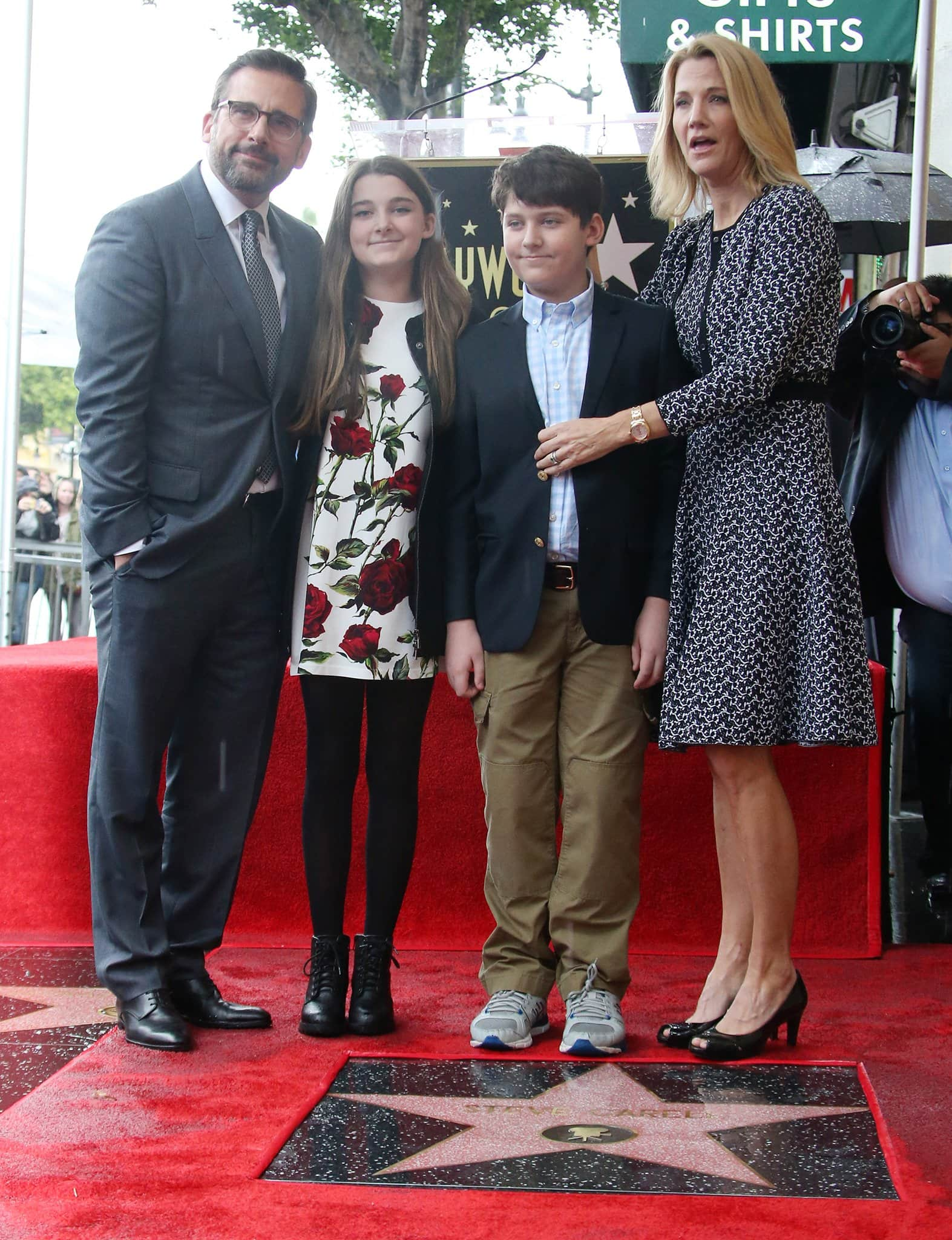 Steve Carell receives Hollywood Walk of Fame star with his kids Elisabeth Anne Carell and John Carell and wife Nancy Carell on January 6, 2016