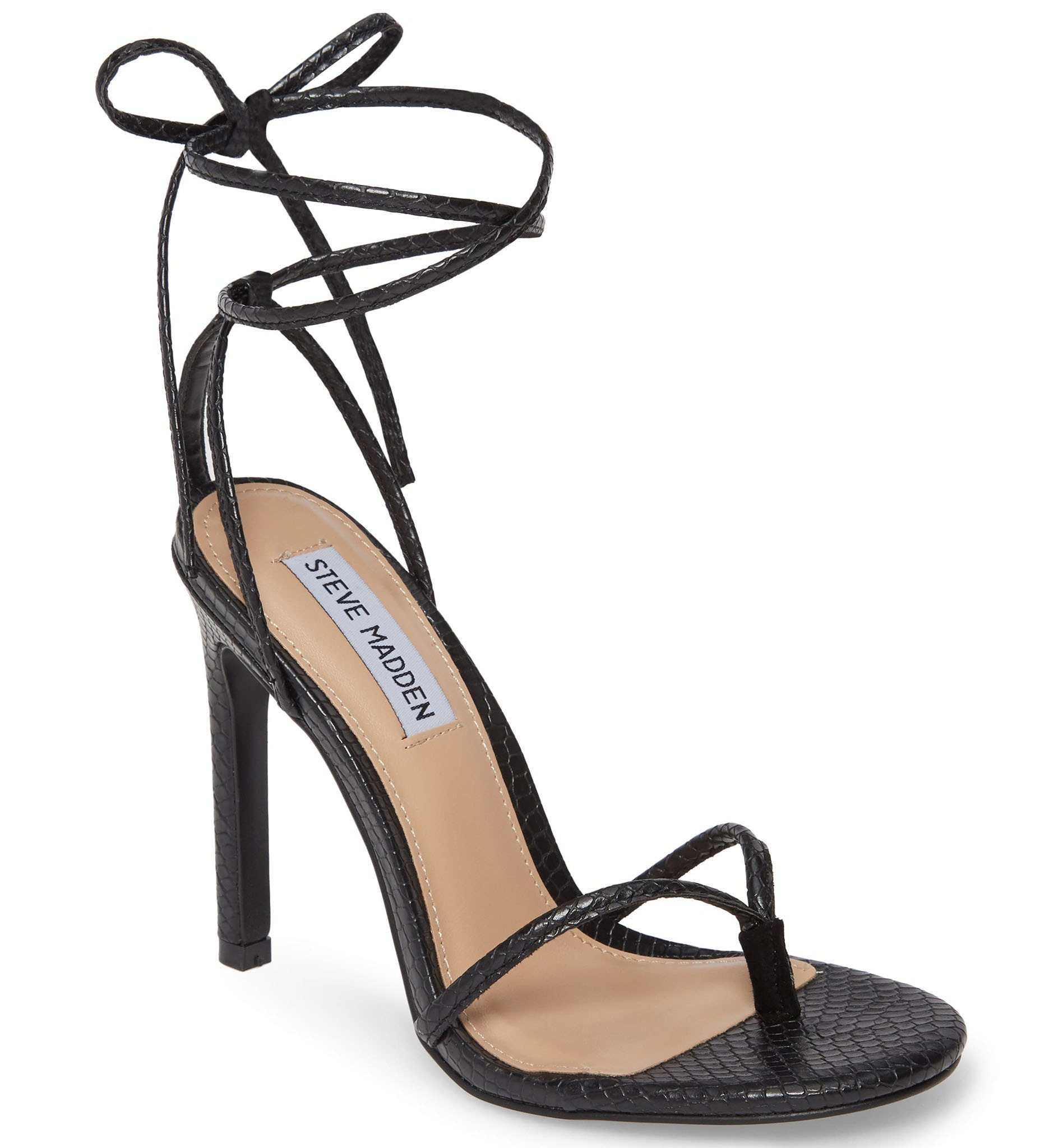 The Steve Madden Vada is defined by the thong toe post and wrap-around ankle straps