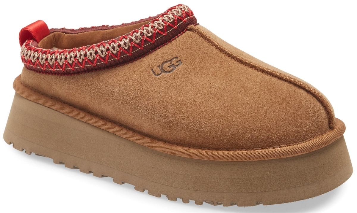 UGG's new Tazz platform mule slippers are lined in the label's signature UGGplush wool blend for a slipper-like feel indoors or out