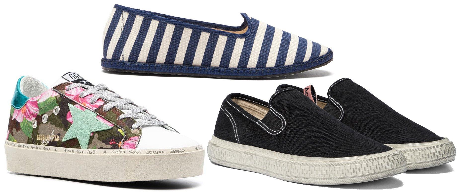 Golden Goose Superstar canvas sneakers, Vibi Venezia Gondola striped canvas flats, Acne Studios Canvas slip-on sneakers