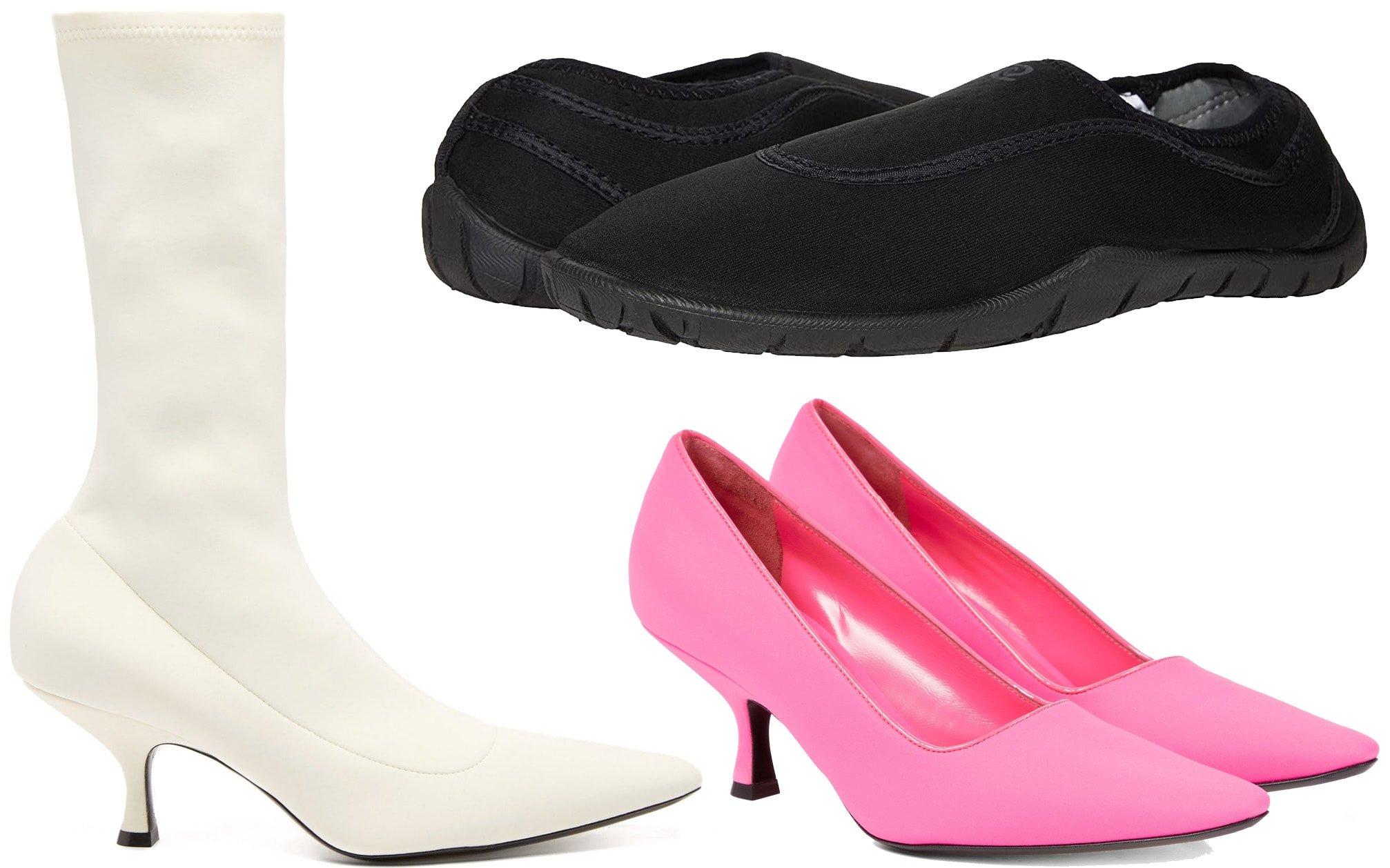 Khaite White Taylor point-toe neoprene boots, Rafters Belize slip-on, Khaite Forli neoprene pumps