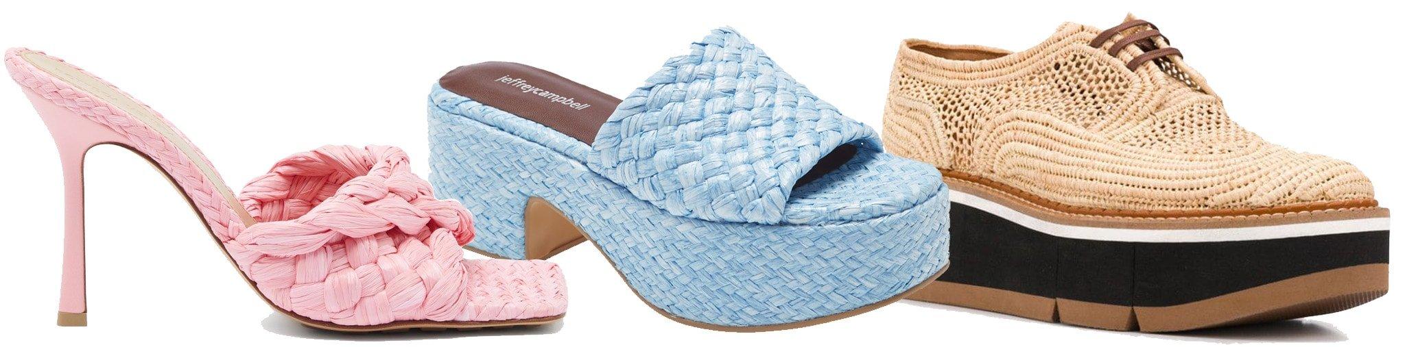 Bottega Veneta Stretch Intrecciato raffia mules, Jeffrey CampbellShindy platform slide sandal, Clergerie raffia lace-up shoes