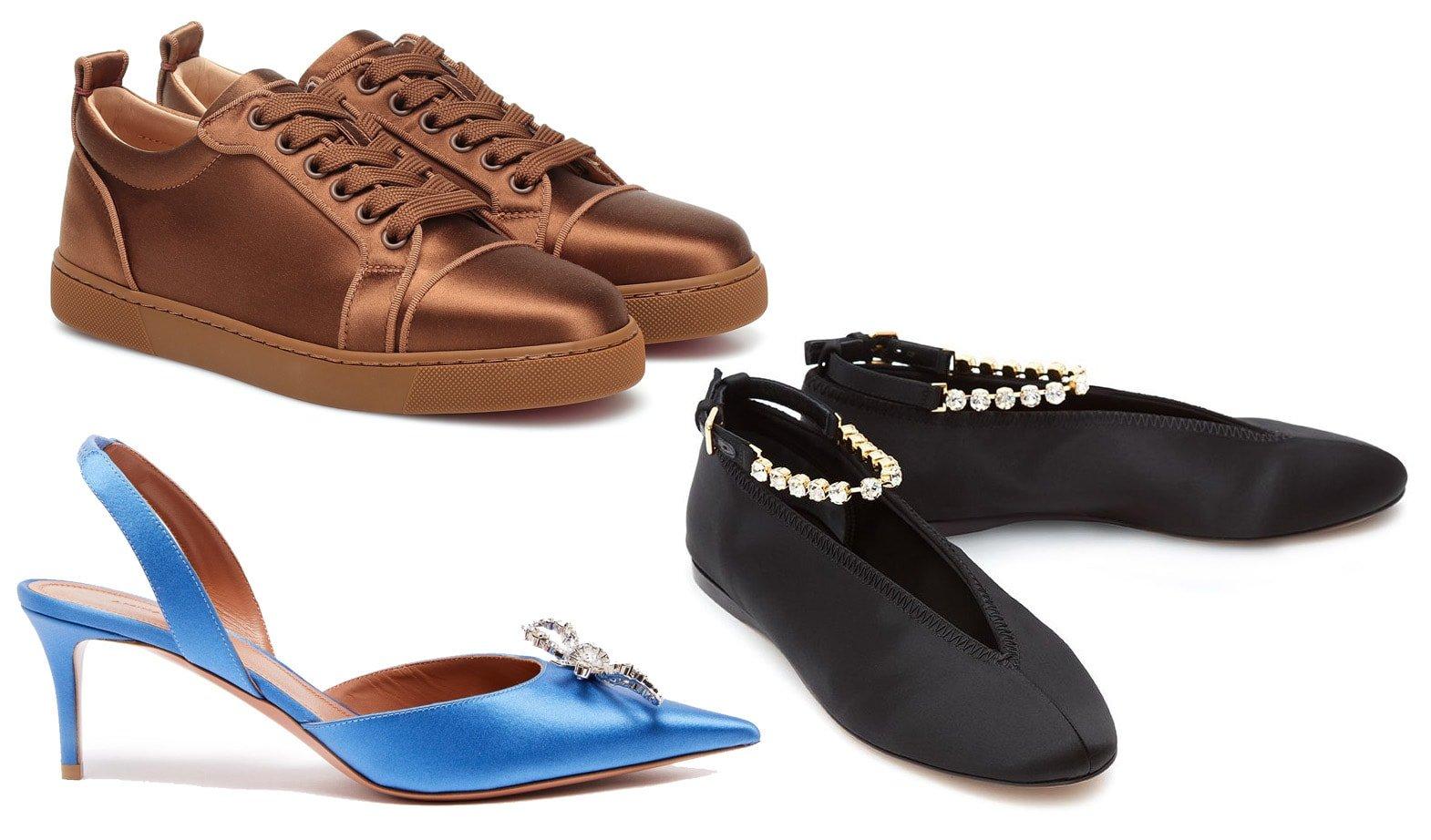 Christian Louboutin Louis Junior silk-satin sneakers, Amina Muaddi BlueRosie crystal-embellished silk-satin pumps, JW Anderson crystal-embellished Silk Ballerina shoes
